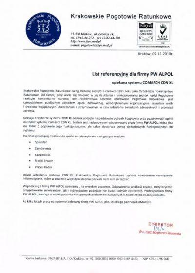 Krakowskie Pogotowie Ratunkowe referencje